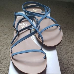 Blue denim lace up sandals